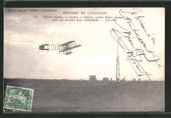AK Biplan système Henry Farman piloté par son élève Roger Sommer