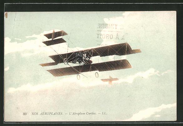 AK L'Aéroplane Curtiss, Doppeldecker-Flugzeug