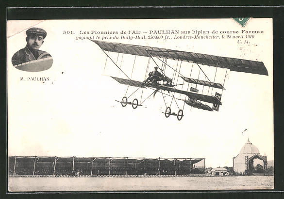 AK Paulhan sur biplan de course Farman, Doppeldecker-Flugzeug