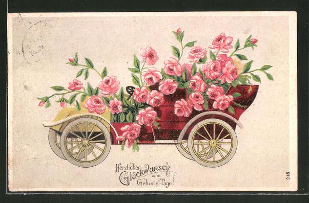 Prage Ak Auto Voller Rosa Blumen Gluckwunsch Zum Geburtstag Nr