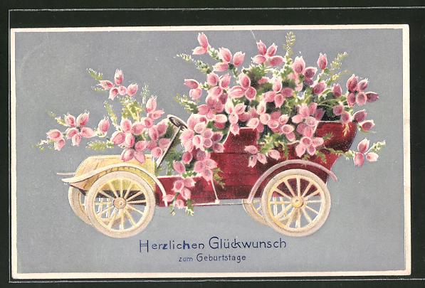 Präge Ak Auto Voller Rosa Blumen Geburtstagswünsche Nr 7986564