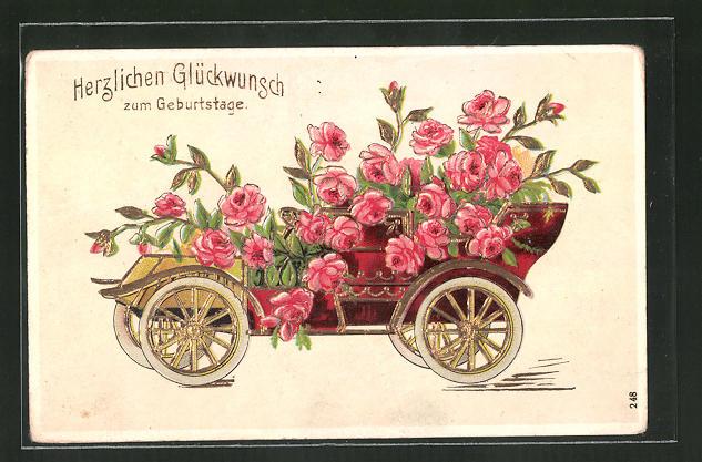 Präge-AK ein Auto mit Rosen geschmückt, Geburtstagsgrüsse