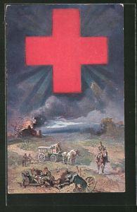 Künstler-AK Bayer. Landeskomitee für freiwillige Krankenpflege im Kriege, Versorgung Verwundeter durch das Rote Kreuz