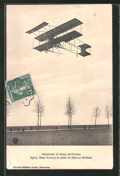 AK Biplan Henri Farman en plein vol, Doppeldecker-Flugzeug