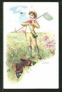 Künstler-AK Knabe fängt Schmetterlinge auf einer Sommerwiese