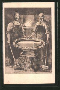 Künstler-AK Kaiser Franz Josef I. von Österreich und Kaiser Wilhelm II. als Schmiede des Bundes