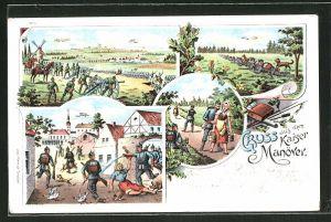 Lithographie Kaisermanöver, Auf dem Schlachtfeld mit Kanonen, Soldaten beim Schiessen, Soldaten stürmen ein Dorf