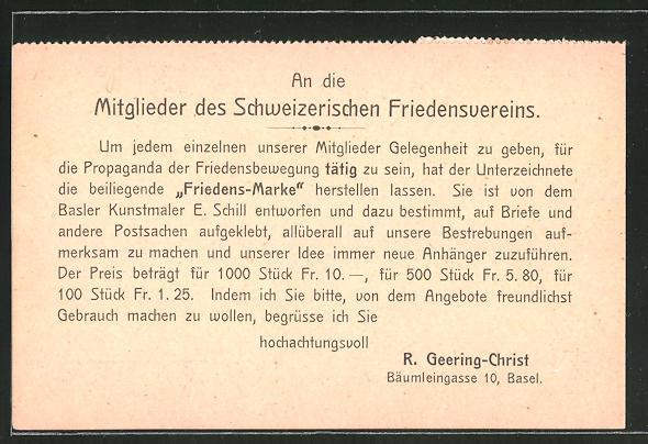 AK Basel, Schweizerischer Friedensvereins, Information über die Friedensmarke der Friedensbewegung, Bäumleingasse 10