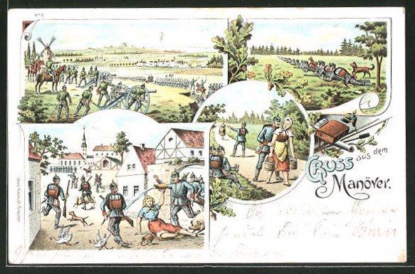 Lithographie Gruss aus dem Manöver, Soldat bandelt mit einem Bauernmädchen an