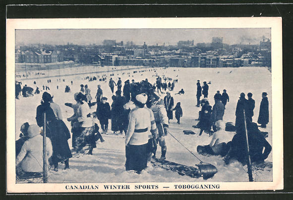 AK Canadian Winter Sports, Tobogganing, Schlittenfahrer auf einer Rodelbahn