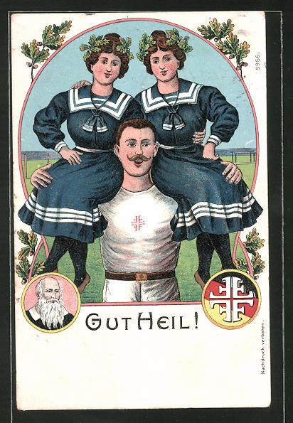 AK Portrait Turnvater Jahn, junger Turner mit zwei Mädchen auf den Schultern,
