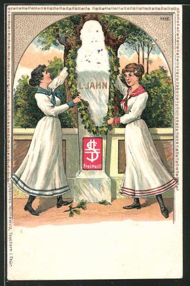 Präge-AK Frauen am Denkmal Turnvater Jahn