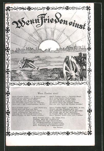 AK Wenn Frieden einst! Gedicht von Osw. Pöhland, Friedensbewegung