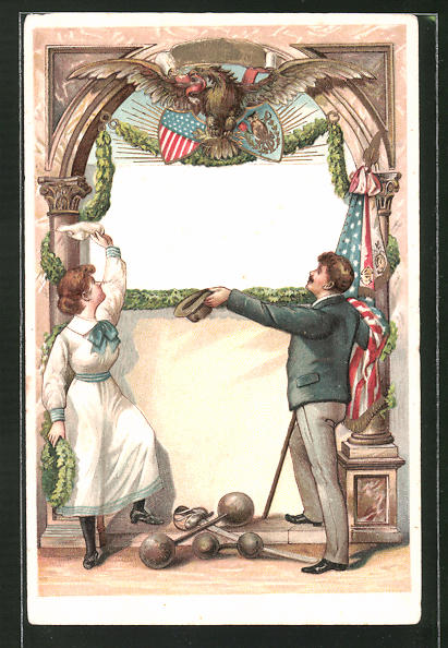 Präge-Lithographie Turner mit Hanteln und Degen beim Gruss, Wappen und Fahnen