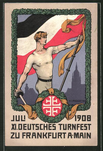 AK Frankfurt a. Main, XI. Deutsches Turnfest 1908, Athlet mit Fahne und Degen