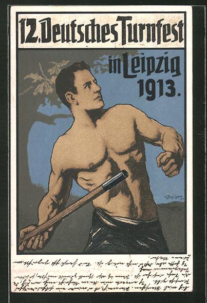 Künstler-AK Hans Treiber: Leipzig, 12. Deutsches Turnfest 1913, Speerwerfer