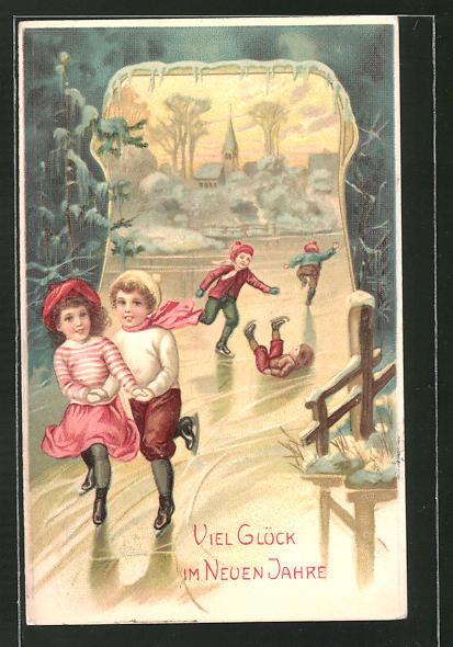 Präge-AK Kinder mit Schlittschuhen auf dem Eis