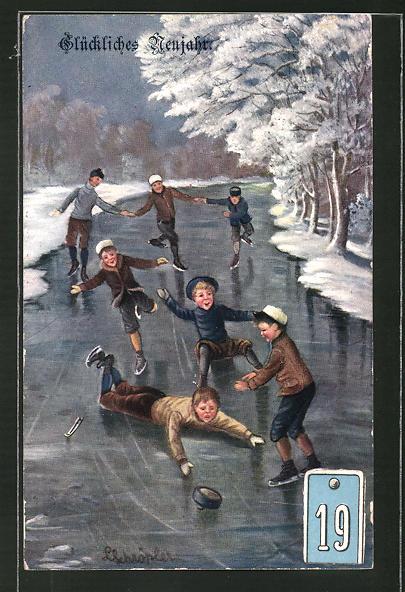 AK Kinder beim Schlittschuhlauf auf dem Fluss