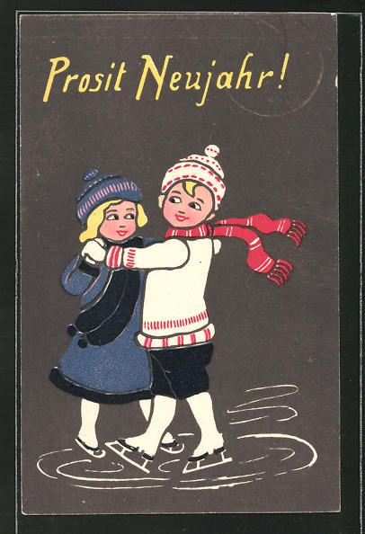 AK Kinder beim Eistanz auf Schlittschuhen