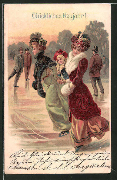 Lithographie Damen im Pelzmantel auf Schlittschuhen