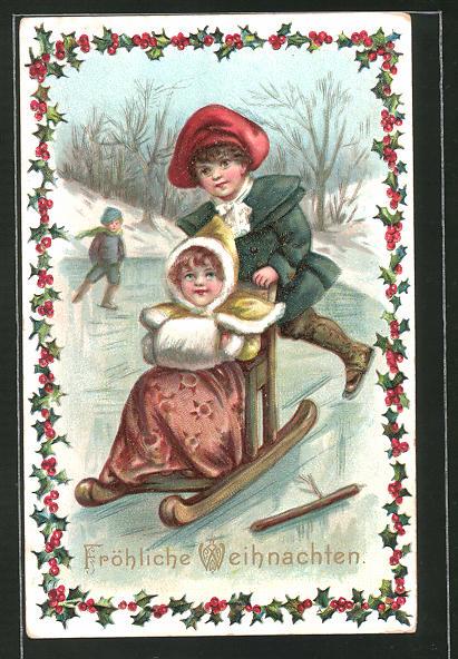 AK Kinder mit Schlitten und Schlittschuhen auf dem Eis