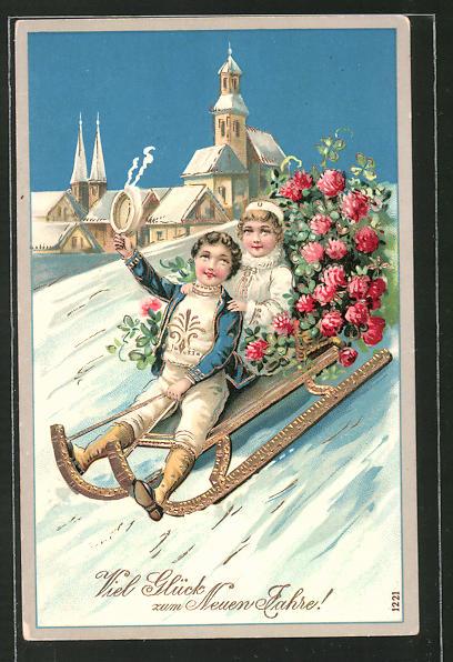 Präge-AK Kinder rodeln mit Blumen auf dem Schlitten
