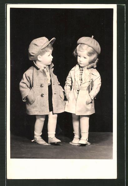 AK Schulkinder-Puppenpaar von Käthe Kruse 1937