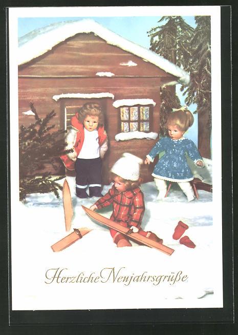 AK Blockhaus im Schnee mit Käthe Kruse-Puppen