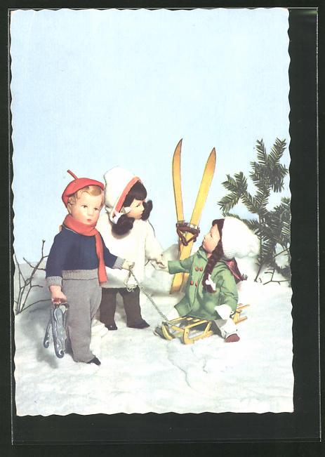 AK Käthe Kruse-Puppen mit Schlitten und Ski