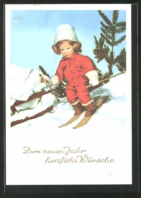 AK Käthe Kruse-Puppe bei der Ski-Abfahrt