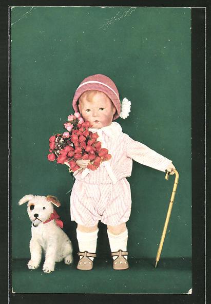 AK Käthe Kruse-Puppe mit Blumen und Plüschhund