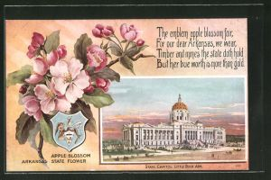 AK Little Rock, AR, Apple Blossom Arkansas State Flower, State Capitol