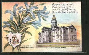 AK Cheyenne, WY, Fringed Gentian State Flower, State Capitol