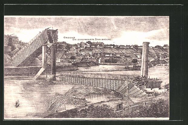 Künstler-AK Grodno, Ortsansicht mit zersprengter Bahnbrücke