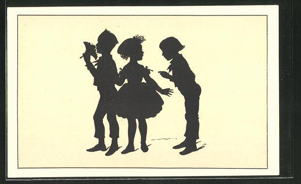 Künstler-AK Paul Konewka: Schattenriss-Karte, Kinder im Gespräch
