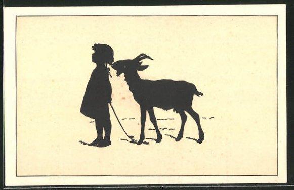 Künstler-AK Paul Konewka: Schattenriss-Karte, Kleines Mädchen und Geiss