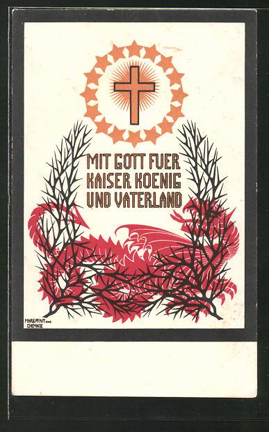 Künstler-AK sign. Margarethe Pfaff: Mit Gott für Kaiser, König und Vaterland