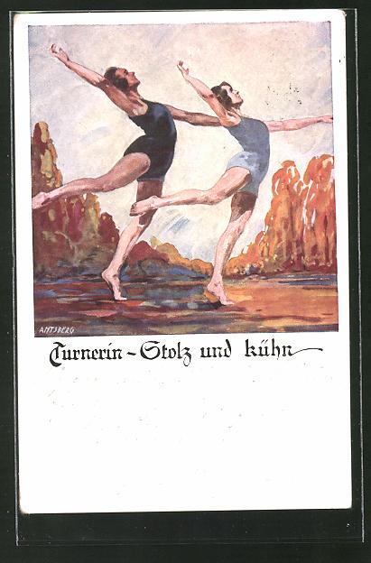 Künstler-AK Otto Amtsberg: Turnerin - Stolz und kühn