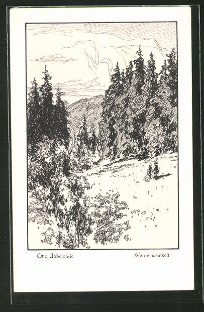 Künstler-AK Otto Ubbelohde: Waldeinsamkeit