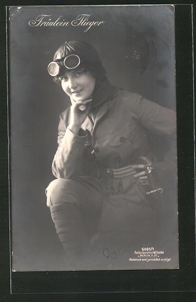 Foto-AK Sanke Nr. 5001 /1: Fräulein Flieger, Flugzeug-Pilotin in Uniform