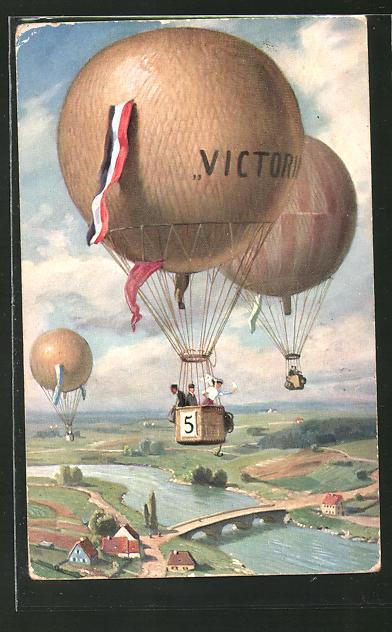 AK Frau winkt aus einem Ballon