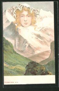 Lithographie Killinger Nr. 111, Eine Jungfrau ohne Gleichen, Berg mit Gesicht / Berggesichter