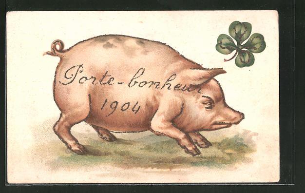 AK Porte bonheur 1904, Schwein auf der Wiese mit einem vierblättrigen Kleeblatt