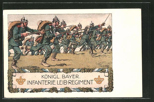 Künstler-AK Angelo Jank: Soldaten d. Königl. Bayer. Infanterie Leib-Regiment auf dem Weg in den Kampf