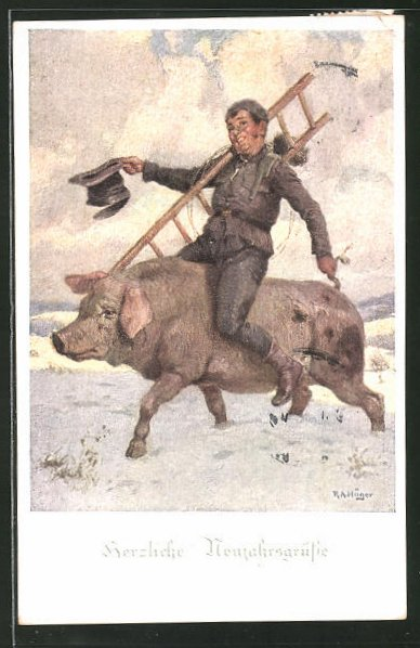 Künstler-AK Rudolf Alfred Höger: Schornsteinfeger reitet auf einem dicken Schwein durch den Schnee