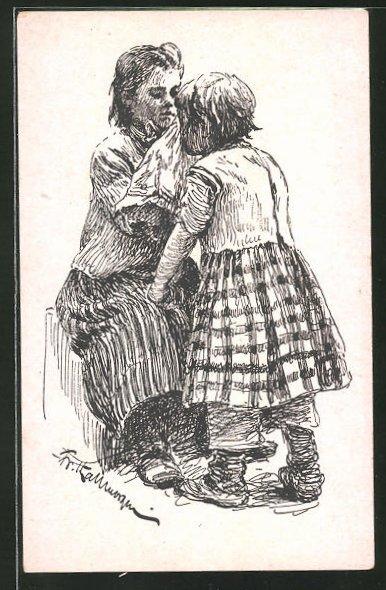 Künstler-AK Friedrich Kallmorgen: Die Schwestern, Zeichnung für den Kalender