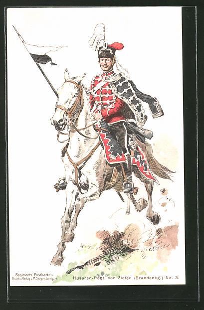 Künstler-AK Carl Becker: Reiter des Husaren-Regt. von Zieten (Brandenbg.) No. 3