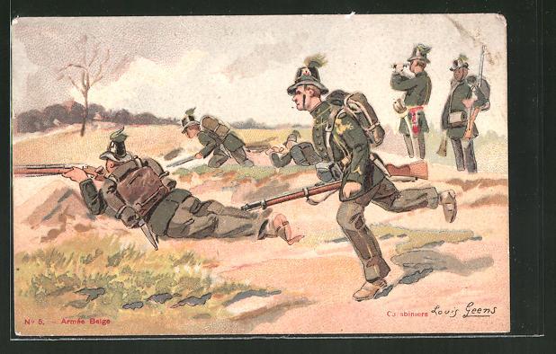 Künstler-AK Armée Belge, belgische Soldaten in Stellung