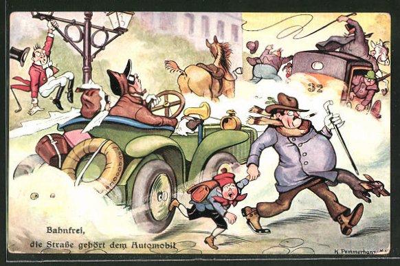 Künstler-AK Karl Pommerhanz: Bahnfrei, die Strasse gehört dem Automobil, Autoraser vertreibt Kutsche und Kinder