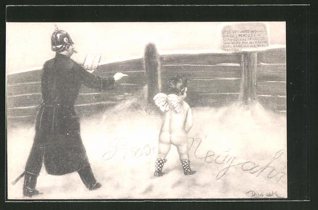 Künstler-AK Eduard Adrian Dussek: Polizist massregelt den pullernden Amor im Schnee